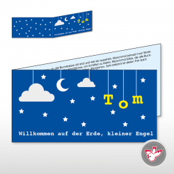 Mond Sterne blau Willkommen Engel moon star blue welcome angel baby birth
