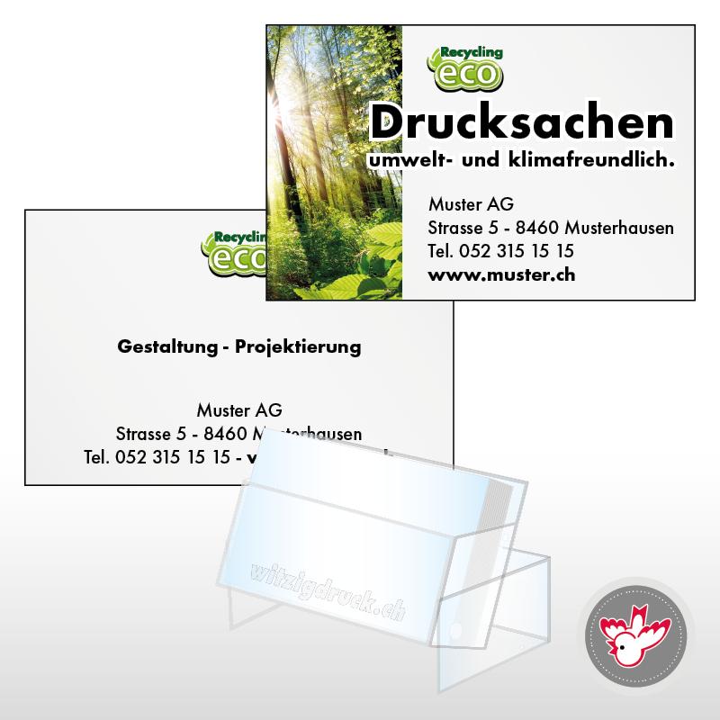 Visitenkarten Recycling 4 4 Farbig